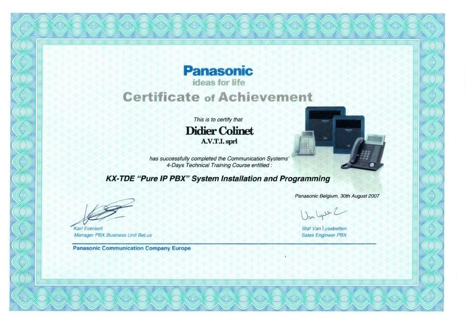 Certification Pure IP - Panasonic BeLux